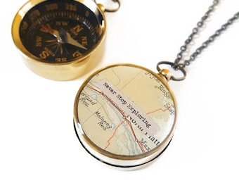 Large Compass Necklace, Never Stop Exploring, Personalized Quote, Vintage Map, Working Compass, Graduation Gift, Inspirational, Motivational