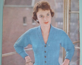 Vintage Knitting Pattern 1950s Women's Cardigan 50s original pattern Lavenda Hand Knit No. 652 UK