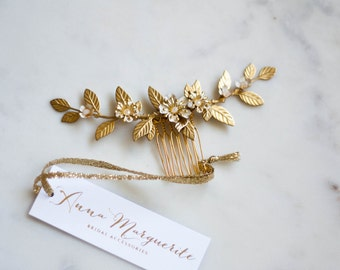 Delia flower and leaf comb, gold leaf comb, bridal flower comb, leaf comb, gold flower comb, flower headpiece, head piece, bohemian,  #208