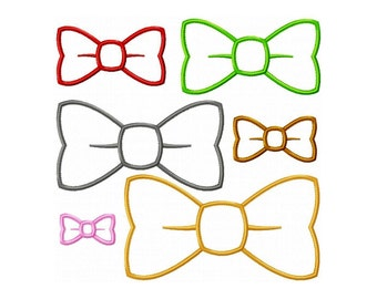 "Bow Tie Machine Embroidery Design Applique Pattern in 6 sizes 2"", 3"", 4"", 5"", 6"" and 7"""