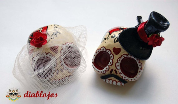 Wedding Sugar Skulls Cake toppers Bride and Groom Mexican Day