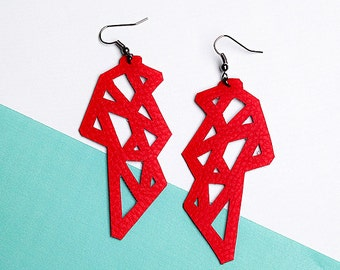 POLYGON. Eco-leather earrings, contemporary Jewelry, handmade Jewelry, drop earrings, gift for her