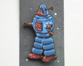 Blue Robot Brooch Geekery Wood Pin Retro Sci Fi Robot Jewelry