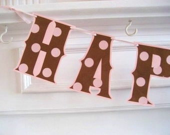 Birthday Banner, Pink and Brown Birthday Banner, Pink and Brown Polka Dots, HAPPY BIRTHDAY Banner, Custom Birthday Banner