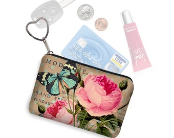 Shabby Rose Small Zipper Pouch Coin Purse Keychain Key Fob Business Card Holder Purse Organizer, Pink, Vintage Floral, Blue Butterfly, RTS