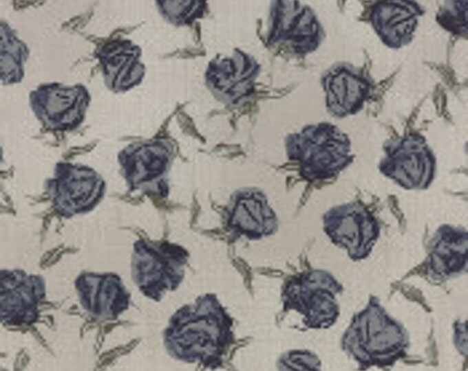 Wordsmith Floral Roses Blue on Natural - 1/2yd