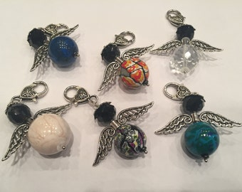 Jewelry pendant guardian angel with glass beads-size L