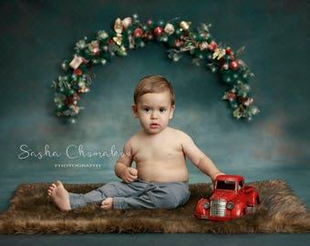 Christmas backdrop   sitter toddler  boy or girl  digital background greens and blue  brown fur