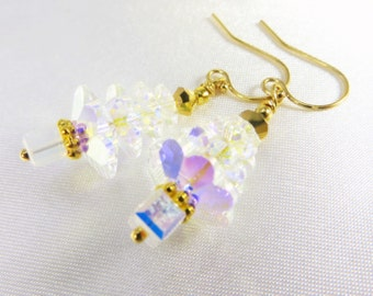 Christmas Tree Earrings in Swarovski Crystal AB on 14k gold fill wires
