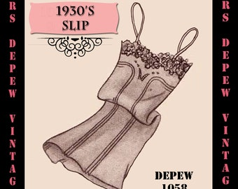 Vintage Sewing Pattern 1930's French Slip in Any Size - PLUS Size Included - Depew 1058 -INSTANT DOWNLOAD-