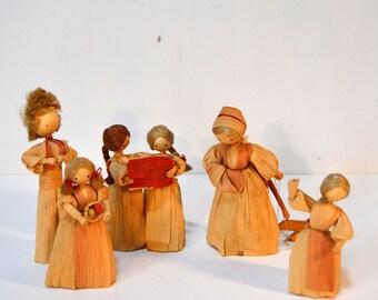 6 Corn husk Dolls Vintage Corn Shuck Dolls