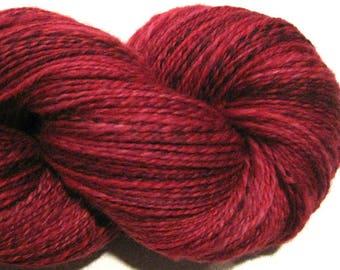 Handspun yarn, Candy Apple, DK weight, 2 ply, 470 yards, crimson yarn, red yarn, hand dyed BFL wool, knitting supplies, crochet supplies