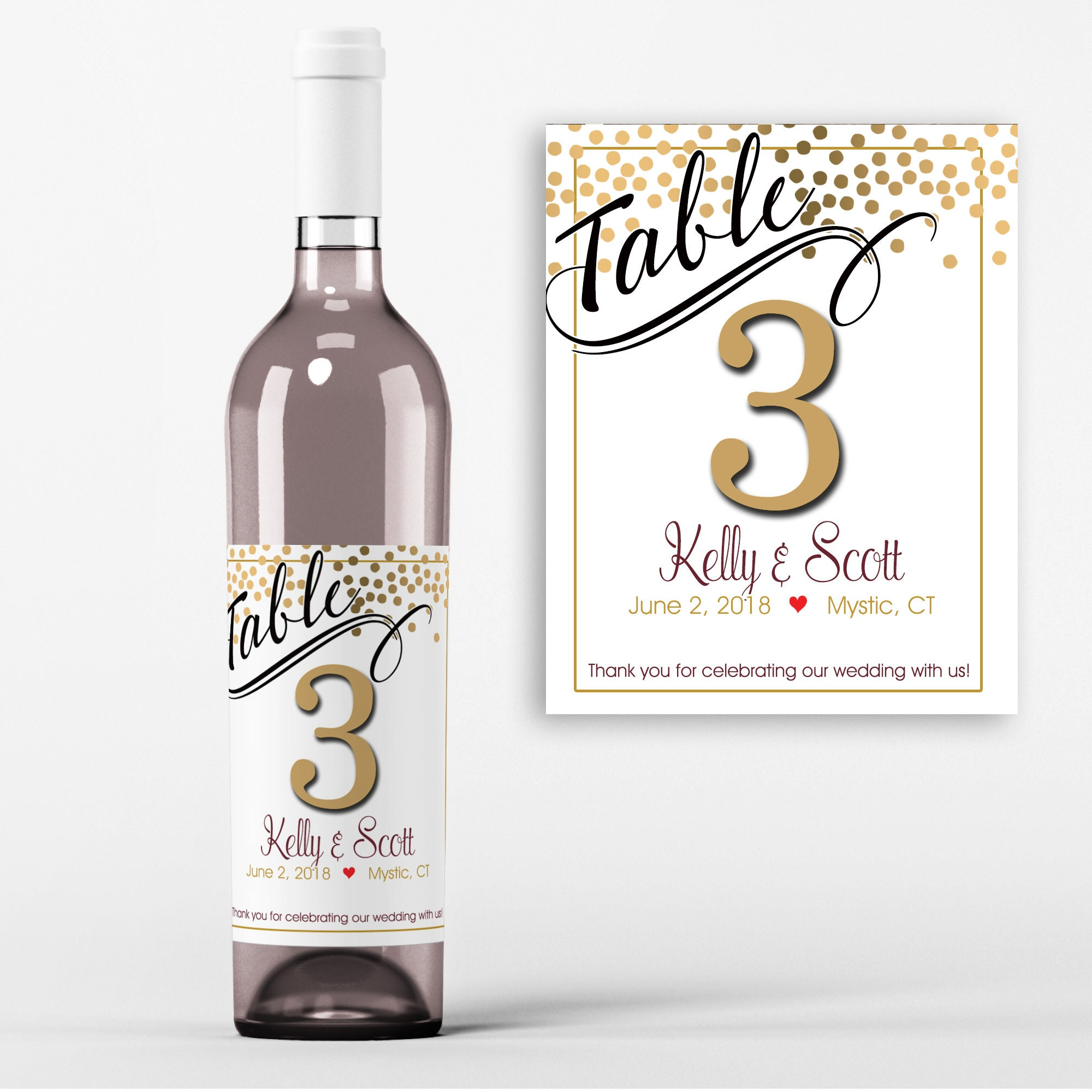 Table Number Wine Labels - Wedding Wine Favors - Table No Wine ...