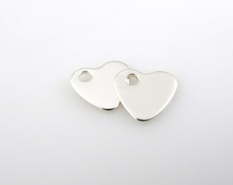 Sterling Silver Heart Charms, 3/8 Inch, 10mm, Polished QTY 2