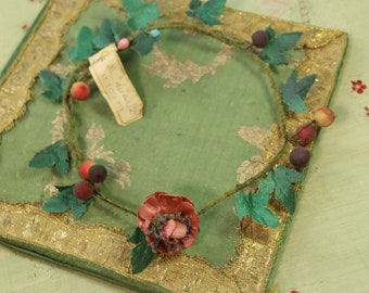 French Antique Paris  1920s silk rose garland tagged millinery wreath trim 1920s hat cloche bonnet dolls curled