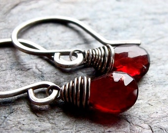 Garnet Sterling Silver Earrings - Faceted Garnet Teardrop Briolettes on Handformed Sterling Silver Earwires