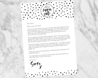 Personalised Letter from Santa, Modern Monochrome Version, Christmas Gifts for Kids, DIY Printable