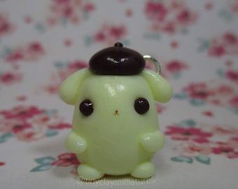 Kawaii chubby pudding dog polymer clay charm