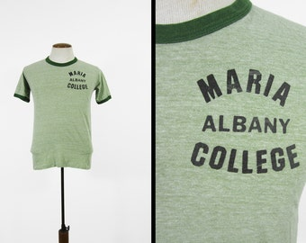 Vintage Maria College Albany T-shirt 70s Heather Green Soft and Thin Hanes - Small