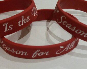 Silicone Wristband -Jesus Is the Reason for All Seasons/Wine Red & White/Christmas Special/Ideal Stocking filler/Special Gift