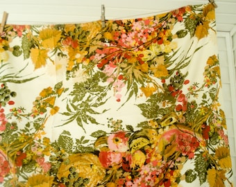Reserved - Vintage cotton tablecloth - bright florals and fruit