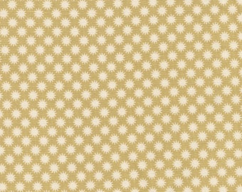 Tilda fabric patterned with little Suns on mustard background