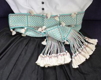 Sash in cream pure silk and turquoise/multi-coloured pure cotton