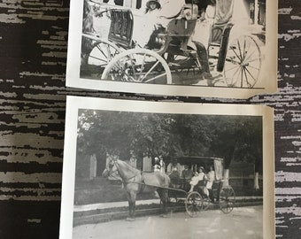 Victorian Era People Riding in Horse and Carriage