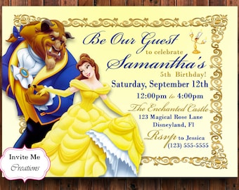 Belle Birthday Party Etsy - Wedding invitation templates: beauty and the beast wedding invitation template free