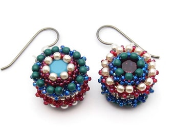 Seed bead earrings -  crystal earrings - Swarovski earrings - pearl earrings - bead woven earrings - beadwork earrings - mismatched earrings