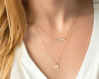 Gold layering necklace - skinny bar necklace - layer necklace