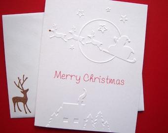 Set of 10 Santa with Reindeer Embossed Christmas Cards