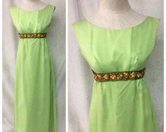 1970's Lime Green Empire Waist Maxi Dress // Flower Child + Union Label