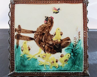 Majolica Tile Trivet Chicken Hen Chicks Bee Filigree Tea 1890 Easter