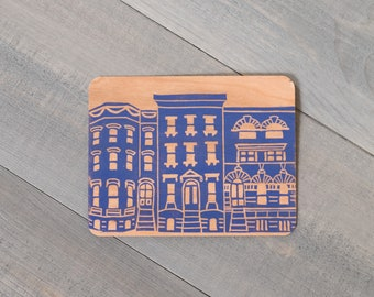 Wooden postcard, Brooklyn brownstones, Brooklyn card, NYC love, Brooklynite gift, Architecture gift, Eco friendly