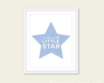 Twinkle Twinkle Little Star - Nursery Typography Digital Print- Blue - Baby Wall Art