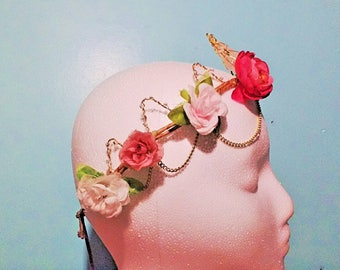 Rose Faerie Crown with Quartz