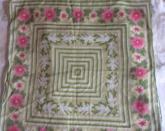 Vintage green pink floral Handkerchief