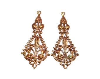 Vintaj vogue elegant filigree charm pair vintaj natural brass company