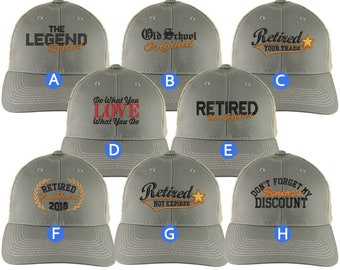 Custom Retirement Embroidery Design on Olive Green + Tan Full Fit Classic Adjustable Trucker Cap 8 Designs to Choose From Some Personalized