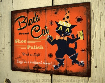 Halloween Folk art wood sign Black Cat primitive style vintage outdoor art