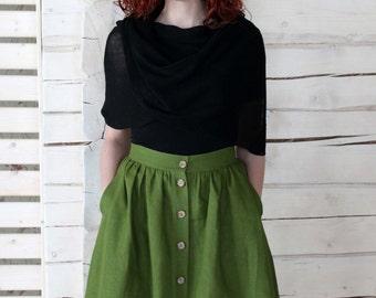 High-Waisted Button Down Linen Skirt