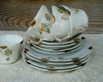 Set of Four Antique Springer & Co Elbogen Mignon Tea Cups, Saucers and Side Plates