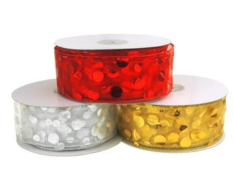 Sheer Organza Gilded Dots Metallic Christmas Holiday Ribbon, 2-1/2-Inch, 50 Yards