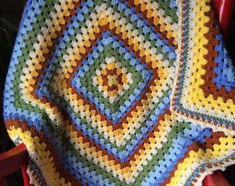 Baby Boy Giant Granny Square Blanket