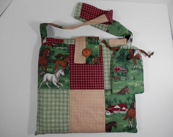 """13"""" Square Horse Lover Purse Burgundy Green Yellow Gingham Print Bag Country Barn Animal Pouch South Western Ranch Farm Craft School Market"""