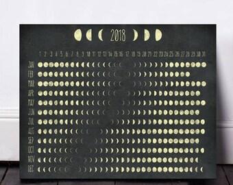 2018 Lunar Calendar, Moon Phases, Moon Phase Calendar, Moon Calendar, Lunar Calendar, Printable Calendar, Moon, Moon Art, Downloadable Art