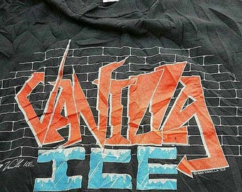 "Free Ship Vintage 90s Vanilla ice - ice ice baby- To the ice extreme Tour 1990 T-Shirt / Size XL 23"" / Hiphop Rap 80s 90s icon"