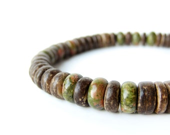 "Men's Jewelry - beaded bracelet handmade of moss green gemstone and brown wood. - ""Camo"""