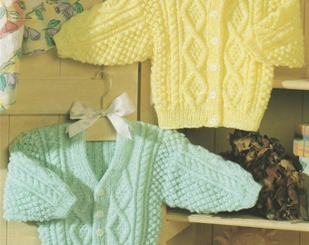 Childrens Cardigan PDF Knitting Pattern : Babies and Toddlers 16, 18, 20, 22, 24 and 26 inch chest . Round and V Neck . Digital Download